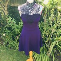 Purple Lace Top Collar Skater Dress Bow Pin Up Rockabilly U.K. 10 Gothic Vintage