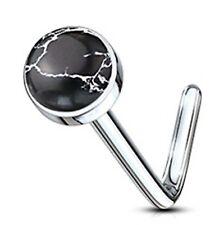 "Nose L Bend Ring w/Stone Black Agate 3mm Head 20 Gauge 1/4"" Steel Body Jewelry"