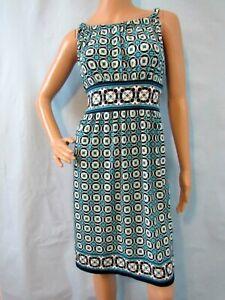 MAX STUDIO Teal Blue/Multi Geometric Sleeveless Jersey Fit & Flare Dress, Size M