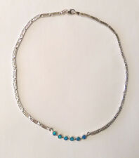 Sterling Silver Imitation Blue Opal Necklace