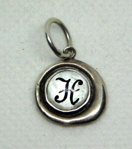Sterling Silver Mother of Pearl Charm H Initial 925 HP WP Designer Black Letter