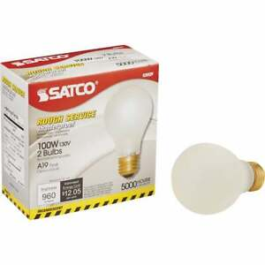 Satco 100W Frosted Medium Base A19 Shatterproof Incandescent Rough Service Light