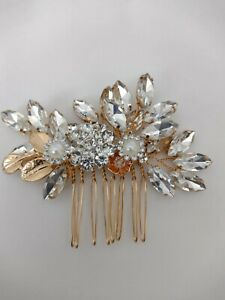Beautiful Hand Wired Bridal Hair Comb. Gold Tone Hair Comb. Wedding Accessories