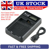 Camera Battery Charger for Canon LP-E5 EOS 450D 500D 1000D KISS F Rebel XS XSi