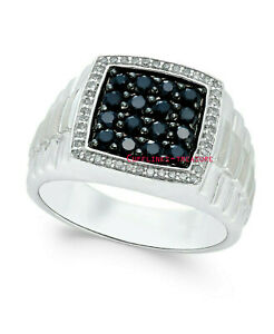Natural Onyx & CZ Gemstone With 925 Sterling Silver Ring For Men's