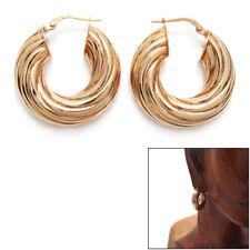 Sterling Silver Rose Gold Wide Twisted Groove Hoop Earrings