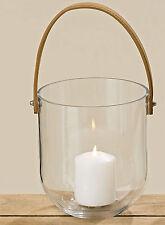 "Windlicht elegant ""Lido"" H 18 cm Ø 16 cm Glas klar Lederband"