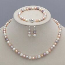 7-8mm Multicolor Freshwater Pearl Necklace Bracelet Earrings Set JN23