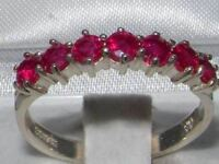 High Quality Solid Hallmarked Sterling Silver Natural Ruby Ladies Eternity Ring