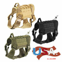 US Military K9 Tactical Vest Training Dog Harness W/ Handle Nylon Adjustable