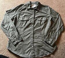 Denim & Co Size 6 Khaki Green Shirt