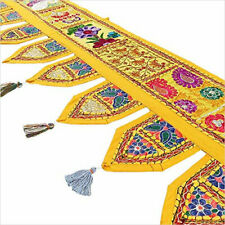 "70""Yellow Wall Hanging Room Decor Indian Patchwork Embroidery Toran Door Valance"