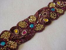 Hand-Beaded Trim Rich & Sparkling Burgundy & Gold tambour embroidery