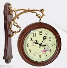 Home interior Antique Classic Double Side Wall Mount Clock battery operated