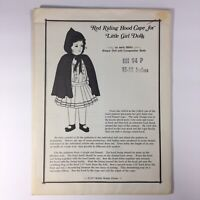 """Hobby House Press 15-18"""" Historical Doll Pattern Red Riding Hood Cape vintage"""