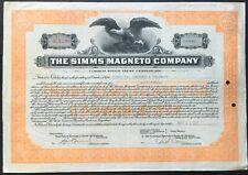 SIMMS MAGNETO CO Stock Trust 1922. Inventor F.R. Simms. Daimler & Bosch Partners