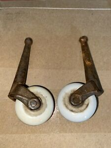 Pair Antique Porcelain Casters Wheels Cast Iron Furniture Rusted DIY Bed Wheels