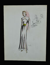 SIGNED ORIGINAL 1930'S-40's  WOMEN'S FASHION ILLUSTRATION, FABULOUSLY ELEGANT