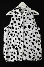 Witchery black & white spot sleeveless shirt with front pocket - as new - 12