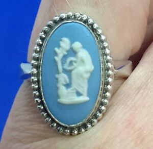 Vintage Wedgwood Blue Jasper Cameo Silver Mounted Ring Size M