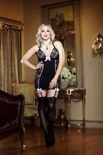 Plus Size Women Ruffle Bowed Princess Lace Halter Garter Slip Babydoll Lingerie