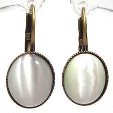 SoHo® Ohrhänger vintage bohemia glas mondstein 1960´s Ohrringe altgold bronze