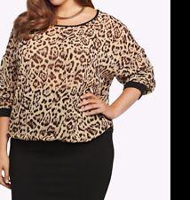 Torrid Leopard Print Chiffon Pullover Top Shirt Blouse Scoop Neck  0 12 #03749