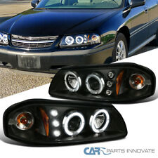 For 2000-2005 Impala LED Dual Halo Black Projector Headlights Driving Head Lamps
