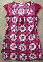 White Stuff Ladies Red Floral Summer Tunic Dress Top Sz 8 cotton