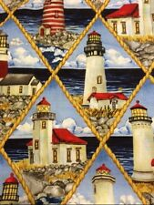 LIGHTHOUSE  100% COTTON FABRIC NEW QUILT NAUTICAL FQ