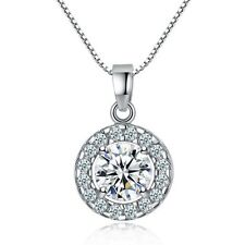 925 Silver Round Crystal Chain Pendant Necklace Earstud Jewelry Gift Set
