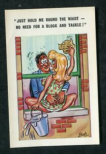 c1970s Comic: Lady Cleaning Windows: No Need for a Block & Tackle