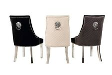 2*Lion Knocker Chrome Legs Quilted Back Tufted Front Luxury Dining Chair