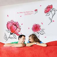 Neu Wandtattoo Bild Sticker Deko Schlaf Wohn Zimmer Flur Rosa Blume