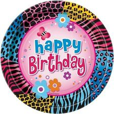 ANIMAL PRINT Wild Birthday SMALL PAPER PLATES (8) ~ Party Supplies Cake Dessert