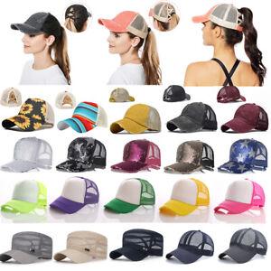 Fashion Women High Bun Ponytail Adjustable Breathable Mesh Baseball Cap Hat