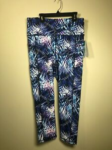 NWT! Gaiam Women's Athletic Yoga Capri Pants Blue/Pink L Stay Put Waist Hi-Waist