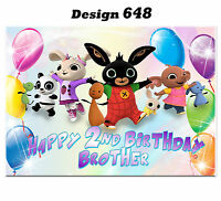 Large Bunny Personalised Birthday card; to Any age name for little or big (d648)