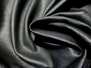 Goatskin leather hide Jet Black full bodied grainy textured soft supple strong!