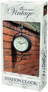 Home Garden Victorian Railway Station Double Sided Clock Vintage
