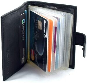 Soft Black Leather Credit Card Holder with RFID Protection - Takes 17 Cards