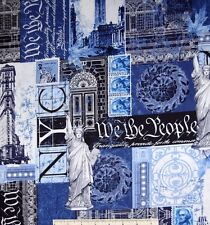 Renaissance Man New York Patch Blue White 100% cotton fabric by the yard