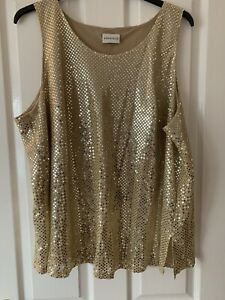 LADIES GOLD SEQUIN PARTY TOP BLOUSE UK SIZE 26 GREAT CONDITION