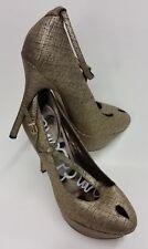 Sam Edelman Shoes Heels Ankle Strap Platform Gold Black Peep Toe Womens