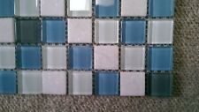 MOSAIC TILE SHEET BLUE WHITE MIX GLASS STONE 30 x 30 cm new