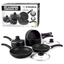 8PC COOKWARE NON STICK KITCHEN PAN SET BLACK SAUCEPAN FRYING PAN POT INDUCTION