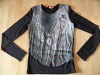 LIU JO cooles Langarmshirt mit Westendruck schwarz Gr. M TOP ZC616