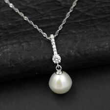 White Freshwater Pearl CZ Wedding 925 Sterling Silver Pendant Chain Necklace 824