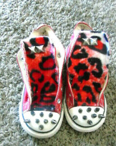 Halloween Converse Handmade studded Punk Spikes! RED LEOPARD INFANT shoes~9
