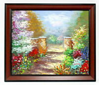 Floral Flower Garden 20 x 24 Art Oil Painting on Canvas w/ Molded Wooden Frame